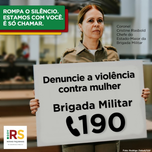 Card instagram coronel Cristine Rasbold - campanha Rompa o Silêncio - Denúncia a violência contra a mulher