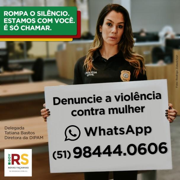 Card instagram delegada Tatiana Bastos - campanha Rompa o Silêncio - Denúncia a violência contra a mulher