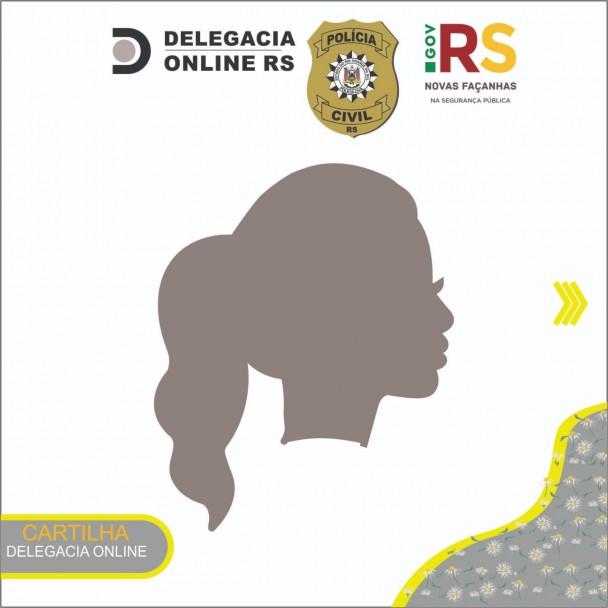 Capa da Cartilha Delegacia Online para registro de violência contra a mulher com o desenho da silhueta de uma mulher de perfil.